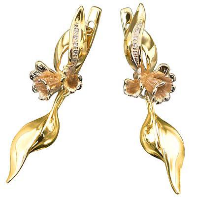 Золотые серьги Ювелирное изделие S-14027 золотые серьги кюп с бриллиантами и alm1820212149