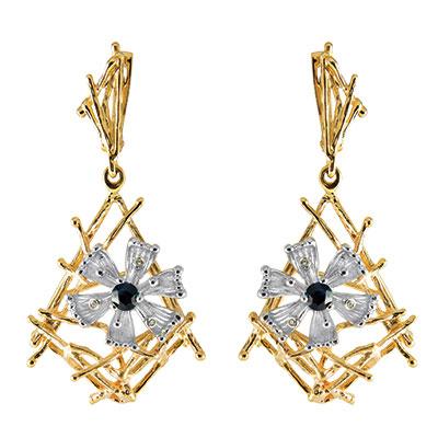 Золотые серьги Ювелирное изделие S-14052 серьги гвоздики лукас золотые серьги с бриллиантами и сапфирами e01 d bs 003bs2