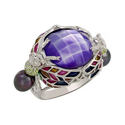 Серебряное кольцо Ювелирное изделие 107331 брошь из кошачьего глаза акрила полимерной глины имитации жемчуга и хрусталя летний букет