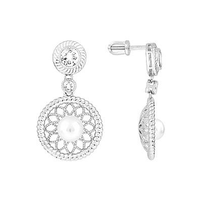Серебряные серьги Ювелирное изделие 112722 серьги из кварца яшмы хрусталя и имитации жемчуга волшебная мелодия
