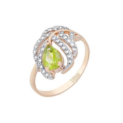 Золотое кольцо Ювелирное изделие 117475 магия золота магия золота кольцо с хризолитом и фианитом 117475