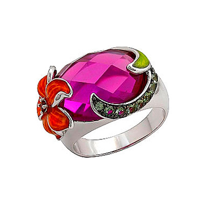 Серебряное кольцо Ювелирное изделие 70779 магия золота серебряный кулон с имитац корунда куб циркониями и эмалью mg99891z en