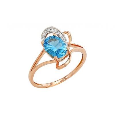 магия золота кольцо с бриллиантом и топазом 82251 Золотое кольцо Ювелирное изделие 82251