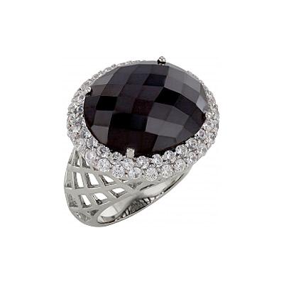 Серебряное кольцо Ювелирное изделие 83550 позолоченное серебряное кольцо с фианитом кошка с 10550 ж