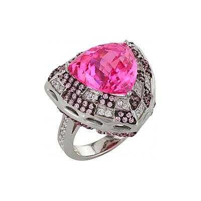 Серебряное кольцо Ювелирное изделие 83553 позолоченное серебряное кольцо с фианитом кошка с 10550 ж