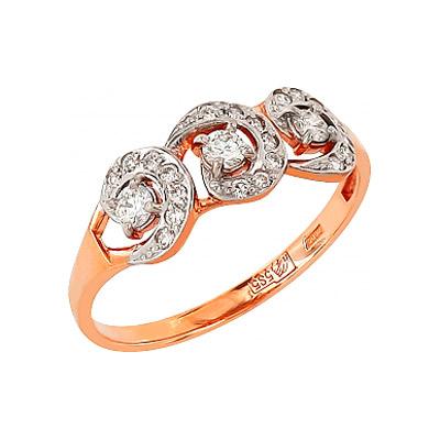 Золотое кольцо Ювелирное изделие 95737 кольцо алмаз холдинг женское золотое кольцо с куб циркониями alm1200203515л 18 5
