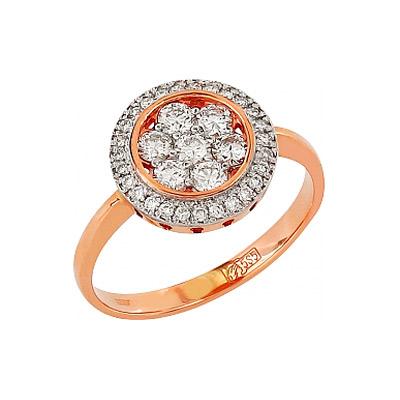 Золотое кольцо Ювелирное изделие 95890 кольцо алмаз холдинг женское золотое кольцо с куб циркониями alm1200203515л 18 5