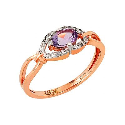 Золотое кольцо Ювелирное изделие 95932 кольцо jv женское золотое кольцо с аметистом и бриллиантами r13115 ga yg 16