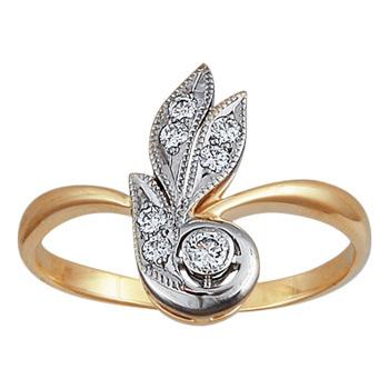 Золотое кольцо Ювелирное изделие 10037RS кольцо алмаз холдинг женское золотое кольцо с бриллиантами и рубином alm13237661 19