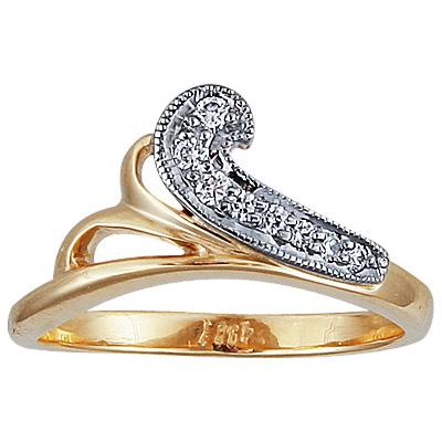 Золотое кольцо Ювелирное изделие 10066RS кольцо алмаз холдинг женское золотое кольцо с бриллиантами и рубином alm13237661 19