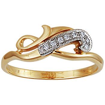 Золотое кольцо Ювелирное изделие 10069RS кольцо алмаз холдинг женское золотое кольцо с бриллиантами и рубином alm13237661 19