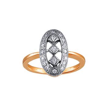 Золотое кольцо Ювелирное изделие 10151RS кольцо алмаз холдинг женское золотое кольцо с бриллиантами и рубином alm13237661 19