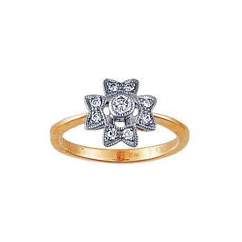 Золотое кольцо Ювелирное изделие 10229RS кольцо алмаз холдинг женское золотое кольцо с бриллиантами и рубином alm13237661 19