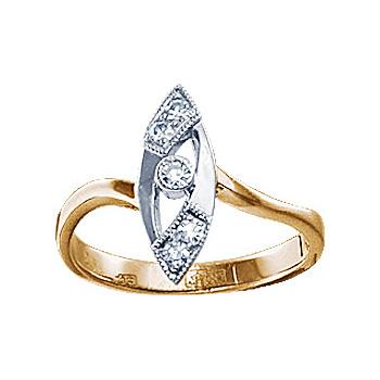 Золотое кольцо Ювелирное изделие 10578RS кольцо алмаз холдинг женское золотое кольцо с бриллиантами и рубином alm13237661 19