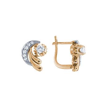 Золотые серьги Ювелирное изделие 10688RS серьги jv золотые серьги с бриллиантами e20070c db wg