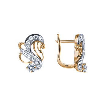 Золотые серьги Ювелирное изделие 10878RS серьги jv золотые серьги с бриллиантами e20070c db wg