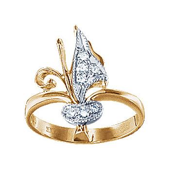 Золотое кольцо Ювелирное изделие 10997RS кольцо алмаз холдинг женское золотое кольцо с бриллиантами и рубином alm13237661 19