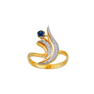 Золотое кольцо Ювелирное изделие 14626RS кольцо кюп женское золотое кольцо с бриллиантами и сапфиром alm1850202213 19