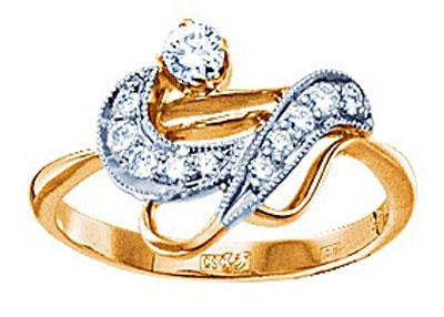 Золотое кольцо Ювелирное изделие 15276RS кольцо алмаз холдинг женское золотое кольцо с бриллиантами и рубином alm13237661 19