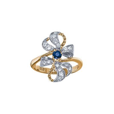 Золотое кольцо Ювелирное изделие 15447RS кольцо jv женское золотое кольцо с бриллиантами и ониксами r21180 ox wg 18