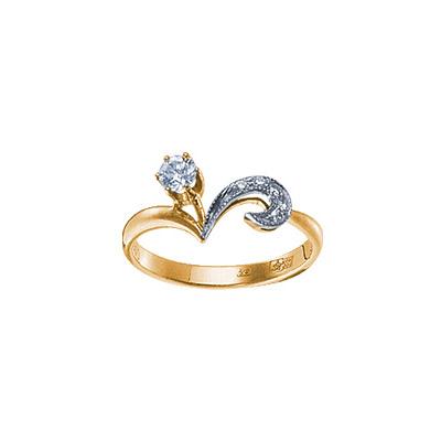 Золотое кольцо Ювелирное изделие 15572RS кольцо алмаз холдинг женское золотое кольцо с бриллиантами и рубином alm13237661 19