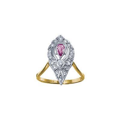 Золотое кольцо Ювелирное изделие 15722RS кольцо jv женское золотое кольцо с аметистом и бриллиантами r13115 ga yg 16