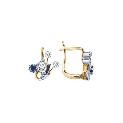 Золотые серьги Ювелирное изделие 15736RS серьги гвоздики лукас золотые серьги с бриллиантами и сапфирами e01 d bs 003bs2