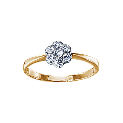 Золотое кольцо Ювелирное изделие 17001RS кольцо алмаз холдинг женское золотое кольцо с бриллиантами и рубином alm13237661 19
