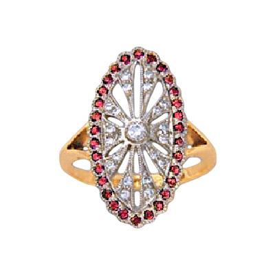Золотое кольцо Ювелирное изделие 17020RS беньковский д любовь красное и белое