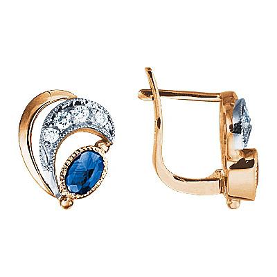 Золотые серьги Ювелирное изделие 17208RS серьги лукас золотые серьги с бриллиантами и сапфирами e01 d 33836 sabs4