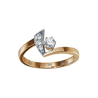Золотое кольцо Ювелирное изделие 17568RS кольцо алмаз холдинг женское золотое кольцо с бриллиантами и рубином alm13237661 19