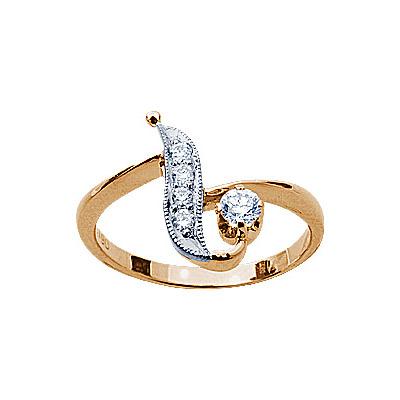 Золотое кольцо Ювелирное изделие 17640RS кольцо алмаз холдинг женское золотое кольцо с бриллиантами и рубином alm13237661 19