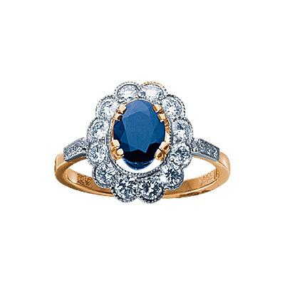 Золотое кольцо Ювелирное изделие 17711RS кольцо кюп женское золотое кольцо с бриллиантами и сапфиром alm1850202213 19