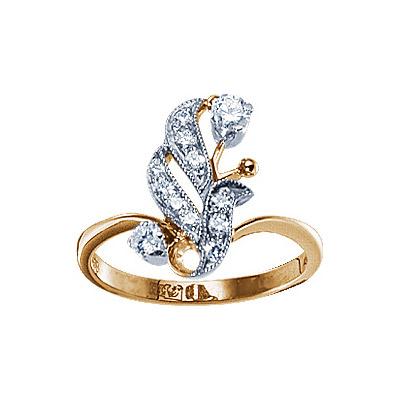 Золотое кольцо Ювелирное изделие 17739RS кольцо алмаз холдинг женское золотое кольцо с бриллиантами и рубином alm13237661 19