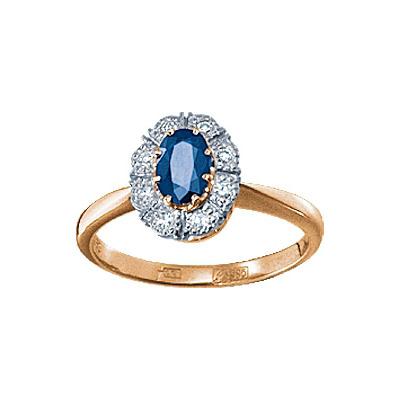 Золотое кольцо Ювелирное изделие 18144RS кольцо кюп женское золотое кольцо с бриллиантами и сапфиром alm1850202213 19
