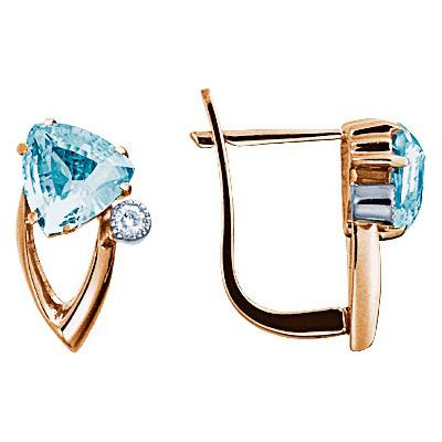Золотые серьги Ювелирное изделие 61211RS серьги алмаз холдинг золотые серьги с бриллиантами и топазами alm21837672