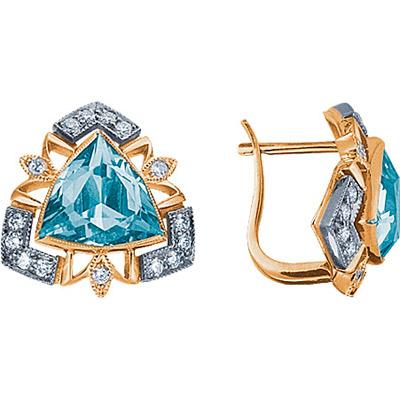 Золотые серьги Ювелирное изделие 90159RS серьги алмаз холдинг золотые серьги с бриллиантами и топазами alm21837672
