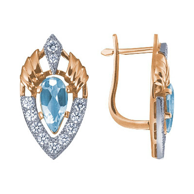Золотые серьги Ювелирное изделие 90206RS серьги алмаз холдинг золотые серьги с бриллиантами и топазами alm21837672