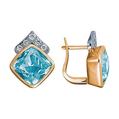 Золотые серьги Ювелирное изделие 90274RS серьги алмаз холдинг золотые серьги с бриллиантами и топазами alm21837672