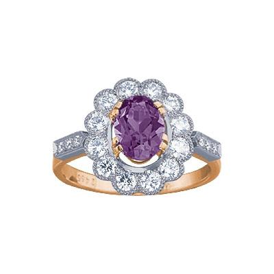 Золотое кольцо Ювелирное изделие 90474RS кольцо алмаз холдинг женское золотое кольцо с бриллиантами и рубином alm13237661 19