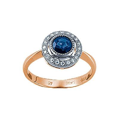 Золотое кольцо Ювелирное изделие 90514RS кольцо кюп женское золотое кольцо с бриллиантами и сапфиром alm1850202213 19