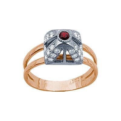 Золотое кольцо Ювелирное изделие 90645RS кольцо алмаз холдинг женское золотое кольцо с бриллиантами и рубином alm13237661 19