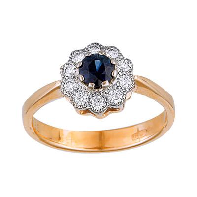 Золотое кольцо Ювелирное изделие 90881RS кольцо кюп женское золотое кольцо с бриллиантами и сапфиром alm1850202213 19
