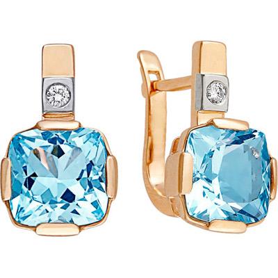 Золотые серьги Ювелирное изделие 90952RS серьги алмаз холдинг золотые серьги с бриллиантами и топазами alm21837672