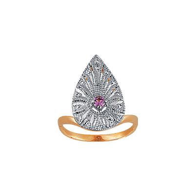 Золотое кольцо Ювелирное изделие 90972RS кольцо алмаз холдинг женское золотое кольцо с бриллиантами и рубином alm13237661 19