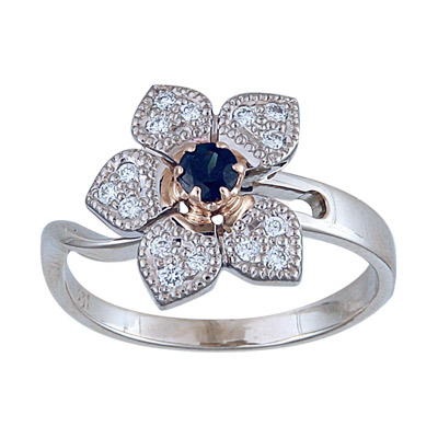 Золотое кольцо Ювелирное изделие 90987RS кольцо кюп женское золотое кольцо с бриллиантами и сапфиром alm1850202213 19