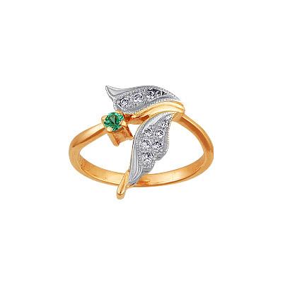 Золотое кольцо Ювелирное изделие 95239RS кольцо алмаз холдинг женское золотое кольцо с бриллиантами и рубином alm13237661 19