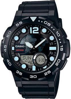 Casio Часы Casio AEQ-100W-1A. Коллекция Ana-Digi мужские часы casio aeq 100w 1b