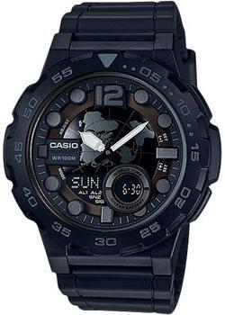Casio Часы Casio AEQ-100W-1B. Коллекция Ana-Digi мужские часы casio aeq 100w 1b