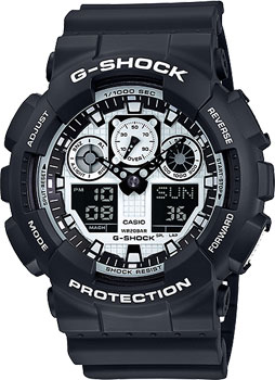 Casio Часы Casio GA-100BW-1A. Коллекция G-Shock casio g shock ga 1100kh 3a